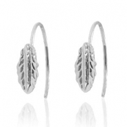Musthave Oorbellen open ring feather Silver