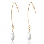Musthave Oorbellen met druppel facet hanger Gold-white pearl shine coating