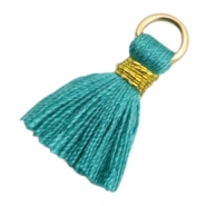 Kwastje Ibiza style 1.8cm Gold-dark emerald green