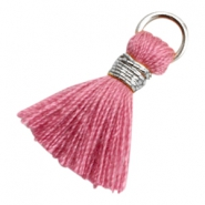 Kwastje Ibiza style 1.8cm Silver-antique pink