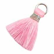 Kwastje Ibiza style 1.8cm Silver-pink