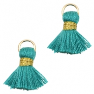 Kwastje Ibiza style 1.5cm Gold-dark emerald green
