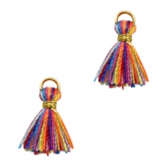 Kwastje Ibiza style 1cm Gold-multicolour yellow orange