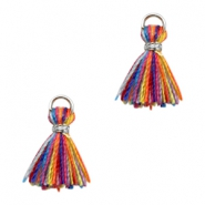 Kwastje Ibiza style 1cm Silver-multicolour yellow orange