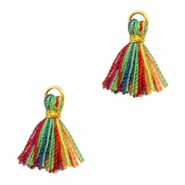 Kwastje Ibiza style 1cm Gold-multicolour red green