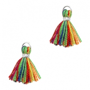 Kwastje Ibiza style 1cm Silver-multicolour red green