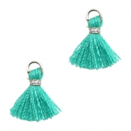 Kwastje Ibiza style 1cm Silver-turquoise green