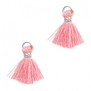 Kwastje Ibiza style 1cm Silver-rose pink
