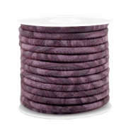 Gestikt imi leer 4x3 mm with pattern Flint purple