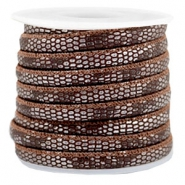 Gestikt imi leer 6x4 mm reptile Chocolate brown