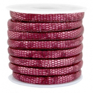 Gestikt imi leer 6x4 mm reptile Mulberry red