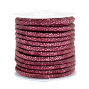 Gestikt imi leer 4x3 mm reptile Mulberry red
