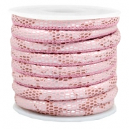 Gestikt imi leer 6x4 mm reptile Light pink