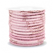 Gestikt imi leer 4x3 mm reptile Light pink