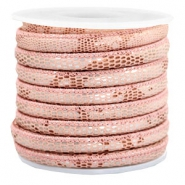 Gestikt imi leer 6x4 mm reptile Rose peach