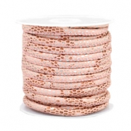 Gestikt imi leer 4x3 mm reptile Rose peach