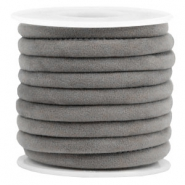 Trendy velvet koord gestikt 6x4mm Grey