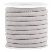 Trendy velvet koord gestikt 6x4mm Light grey