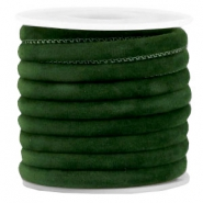 Trendy velvet koord gestikt 6x4mm Dark green
