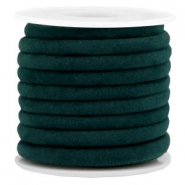 Trendy velvet koord gestikt 6x4mm Emerald green