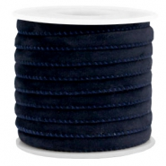 Trendy velvet koord gestikt 6x4mm Dark blue