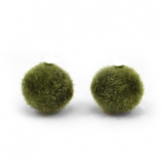 Velvet kralen pompom 6mm Army green
