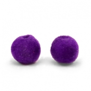 Velvet kralen pompom 8mm Royal purple