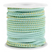 Imi suède leer met strass 3mm Gold-turquoise green