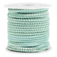 Imi suède leer met strass 3mm Silver-turquoise green