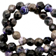 3 mm kralen natuursteen disc facet geslepen Purple black