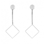 Musthave Oorbellen studs & chain square Zilver