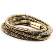 Hippe armband dubbel sparkle & shine Ginger golden red-silver