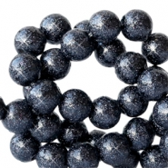 8 mm kralen van acryl met glitter Deep dark blue