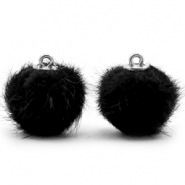 Pompom bedels 16mm fur faux Black