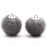 Pompom bedels 16mm fur faux Dark grey