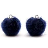 Pompom bedels 16mm fur faux Dark midnight blue