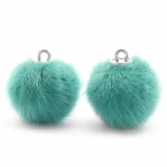 Pompom bedels 16mm fur faux Blue zircon