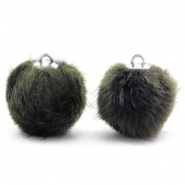 Pompom bedels 16mm fur faux Dark olive green