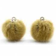 Pompom bedels 16mm fur faux Light olive green