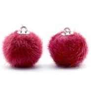 Pompom bedels 16mm fur faux Cherish pink