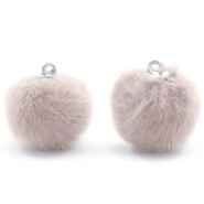 Pompom bedels 16mm fur faux Taupe grey