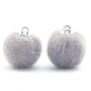 Pompom bedels 16mm fur faux Light grey