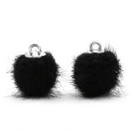 Pompom bedels 12mm fur faux Black