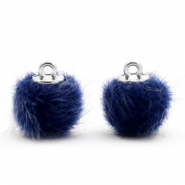 Pompom bedels 12mm fur faux Dark blue