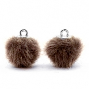 Pompom bedels 12mm fur faux Classic brown