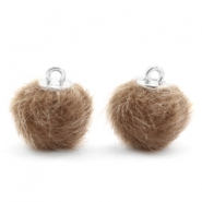Pompom bedels 12mm fur faux Timeless taupe