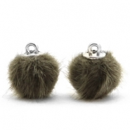 Pompom bedels 12mm fur faux Olive green