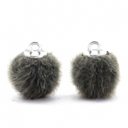 Pompom bedels 12mm fur faux Sage green