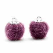 Pompom bedels 12mm fur faux Violet purple