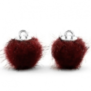 Pompom bedels 12mm fur faux Port red